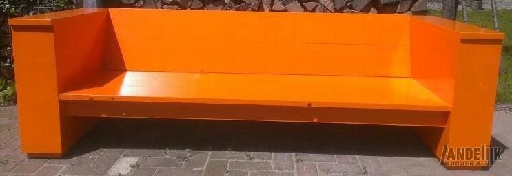 Oranje Steigerhouten Bank