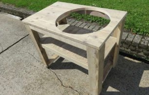 Steigerhouten BBQ Tafel Voor De Big Green Egg Medium