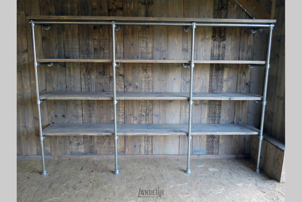 Steigerbuis Wandkast Met Steigerhouten Planken
